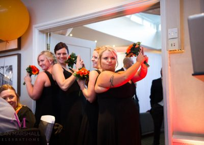 Andy & Jenny's Fun wedding party Introductions at Warbrook House_