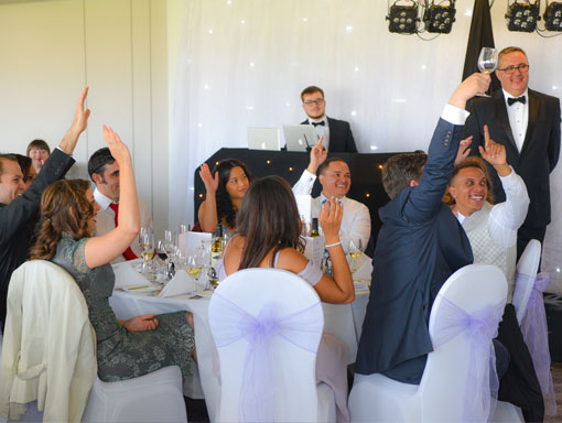 Guests at a wedding breakfast at the Ageas Bowl