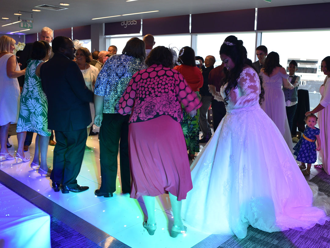 Guests dancing at a wedding at the the Ageas Bowl